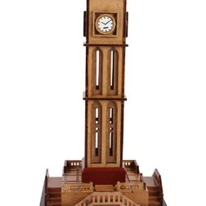 Wood Clock Tower Showpiece - (32 Cm X 15 Cm X 15 Cm, Da288)